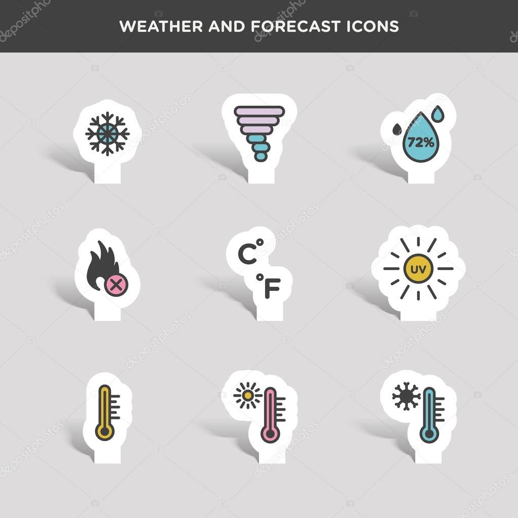 weather and forecast icons set