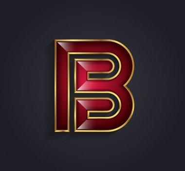 Beautiful vector graphic ruby alphabet with gold rim letter B symbol