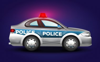 Detailful vector graphic illustration of a police car in blue grey and black colors