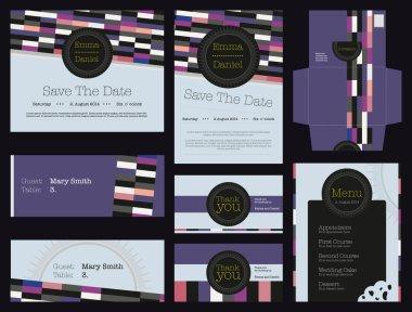 Beautiful colorful geometric identity invitation wedding card set