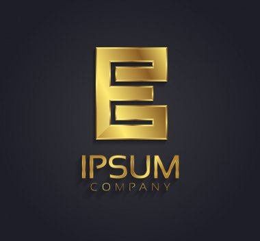 Beautiful vector graphic gold alphabet letter E symbol