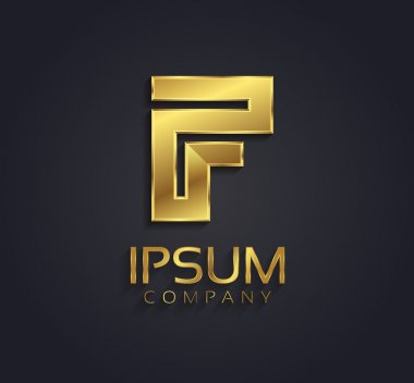 Beautiful vector graphic gold alphabet letter F symbol