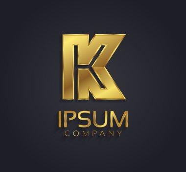 Beautiful vector graphic gold alphabet letter K symbol