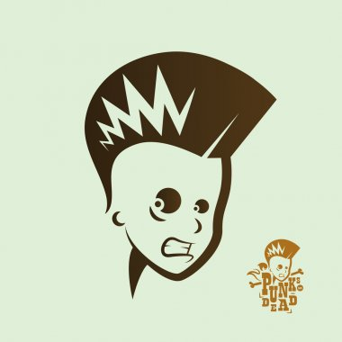 Graphic illustration punk kids head
