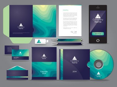 Graphic business card template with wavy design