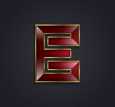 Beautiful vector graphic ruby alphabet with gold rim letter E symbol