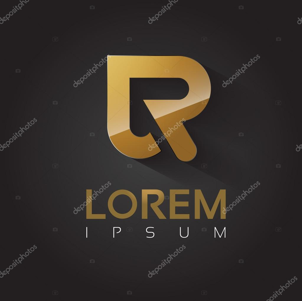 Vector Graphic Golden R Letter Symbol For Your Company With Sample
