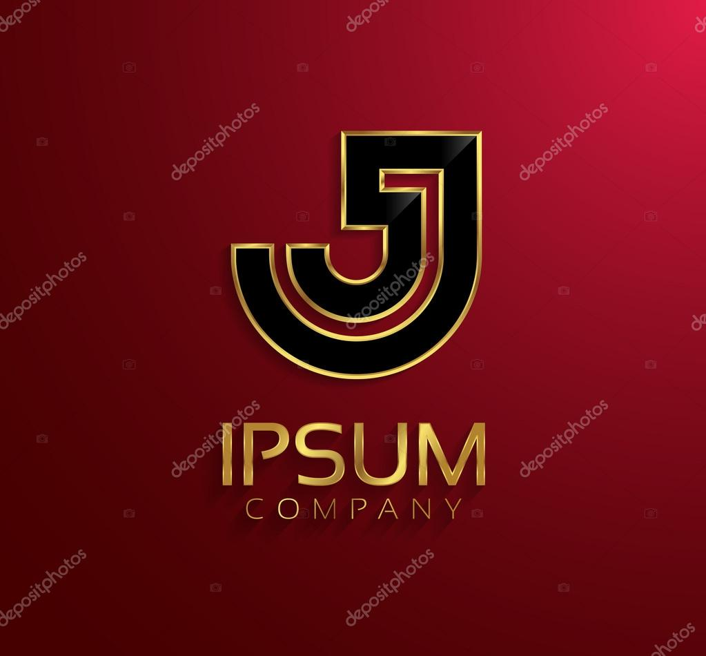 Beautiful Vector Graphic Black Alphabet With Gold Rim Letter J