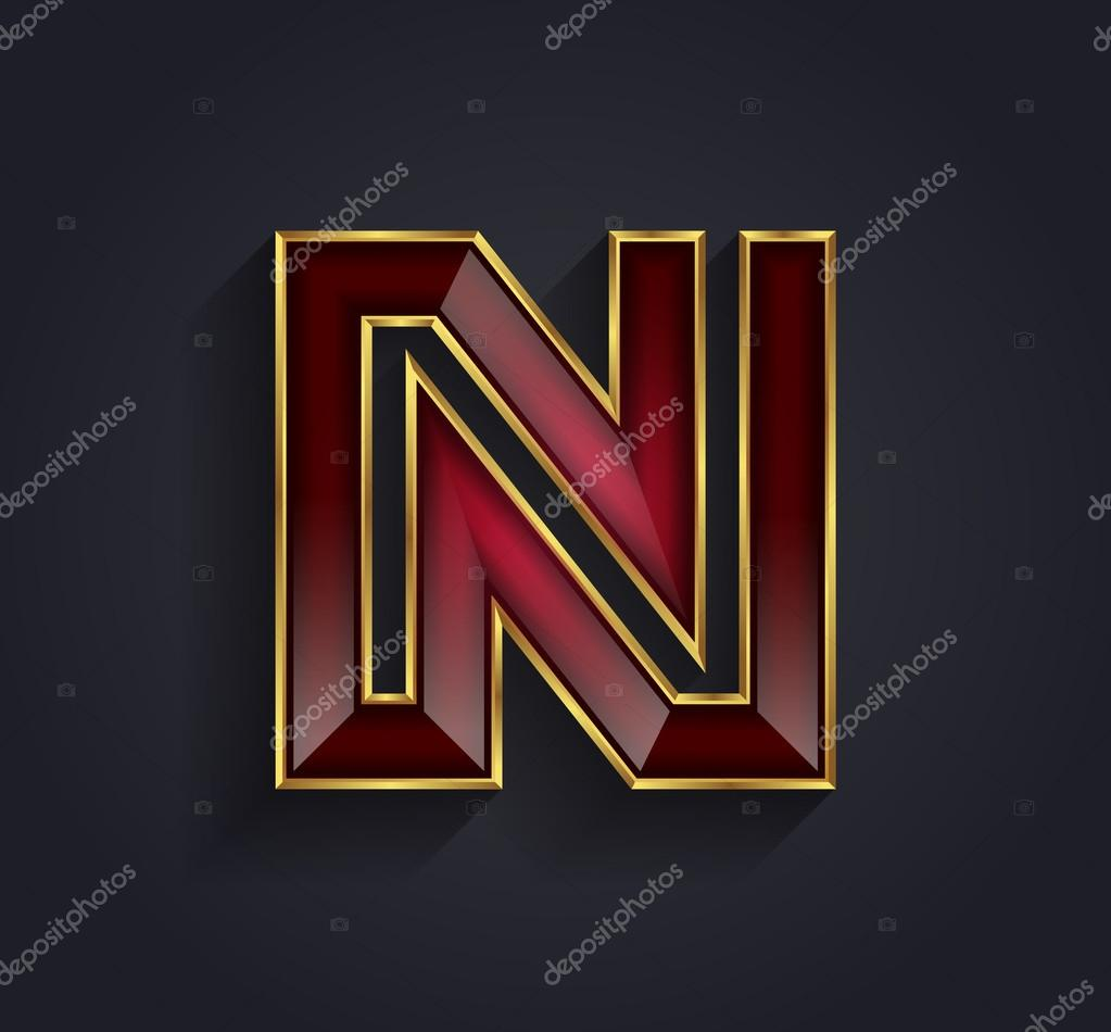 Beautiful Vector Graphic Ruby Alphabet With Gold Rim Letter N Symbol