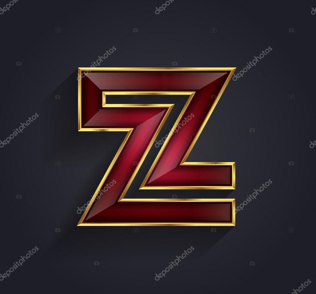 Beautiful vector graphic ruby alphabet with gold rim letter Z symbol