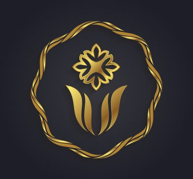 Decorative graphic gold flower shaped symbol