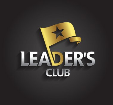 Graphic silver and gold symbol  leaders with flag and star shape
