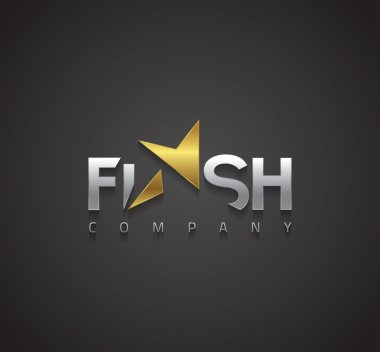 Graphic elegant golden and silver Flash symbol