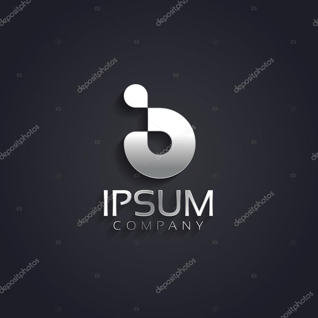 Graphic silver B letter symbol