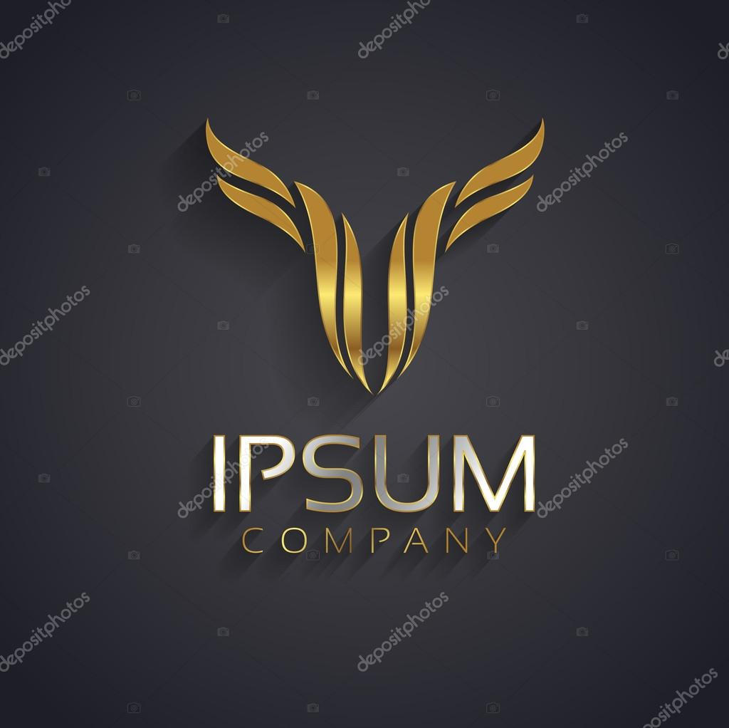 Vector graphic abstract wing symbol for your company with sample vector graphic abstract wing symbol for your company with sample text in gold and silver buycottarizona