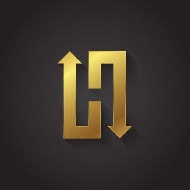 Graphic gold arrow letter H