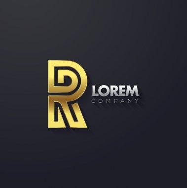 Elegant golden letter R