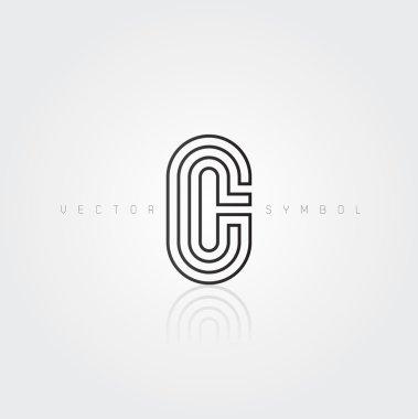 Graphic creative line letter C