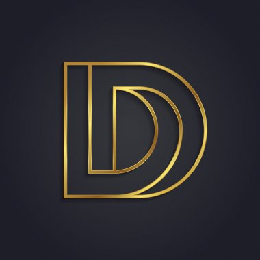 Graphic gold letter D