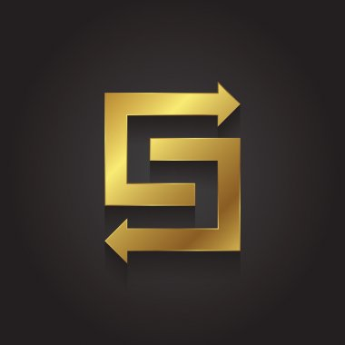 Graphic gold arrow letter S