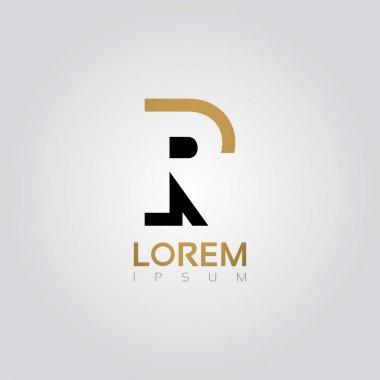 Graphic elegant silhouette letter R