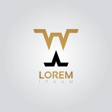 Graphic elegant silhouette letter W