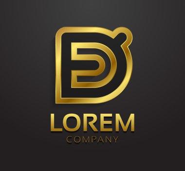 Decorative golden letter D