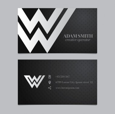 Business card with letter W