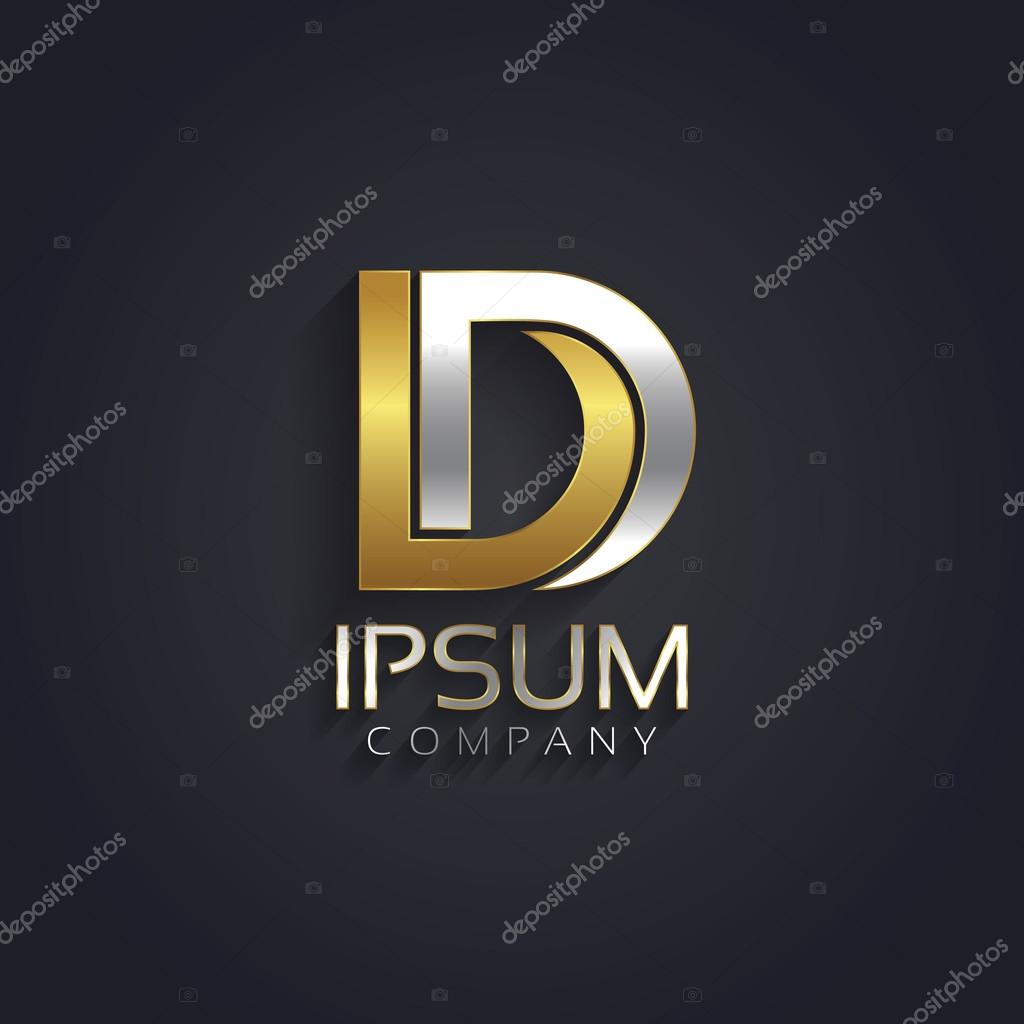 Silver and gold letter D