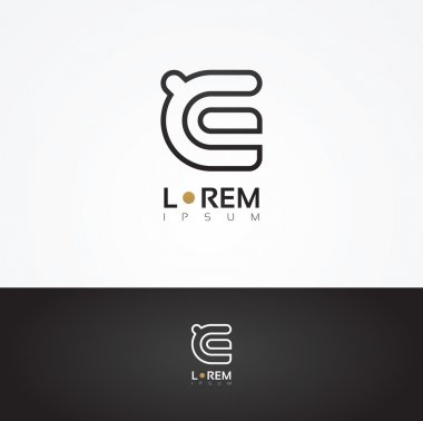 Graphic decorative design letter E