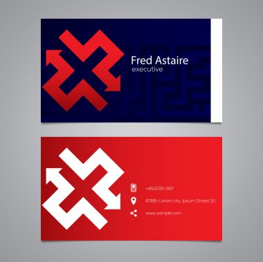 Business card with letter X