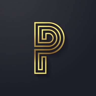 Graphic creative line letter P