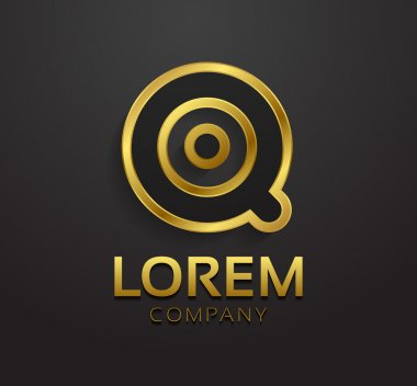 Decorative golden letter Q
