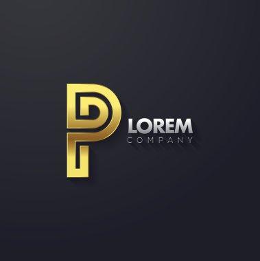 Elegant golden letter P