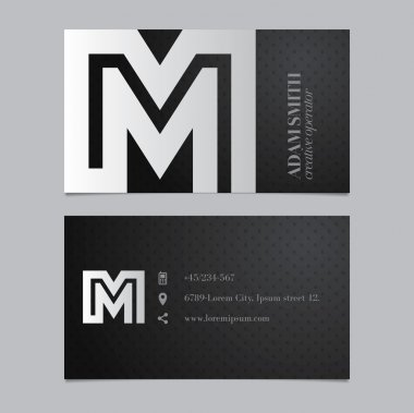 Business card with letter M