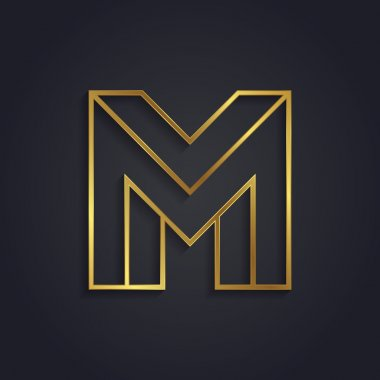 Graphic gold letter M