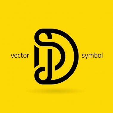Graphic creative line alphabet symbol Letter D