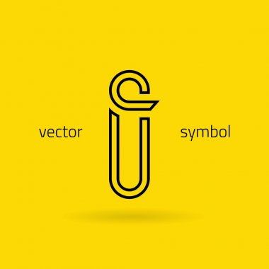 Graphic creative line alphabet symbol Letter I