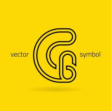 Graphic creative line alphabet symbol Letter G