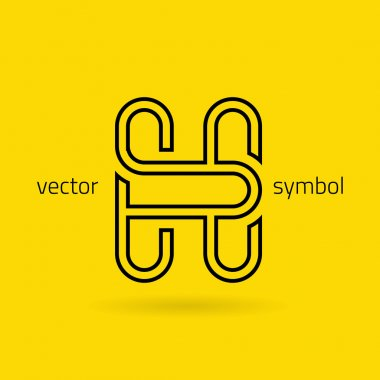 Graphic creative line alphabet symbol Letter H