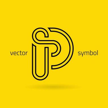 Graphic creative line alphabet symbol Letter P