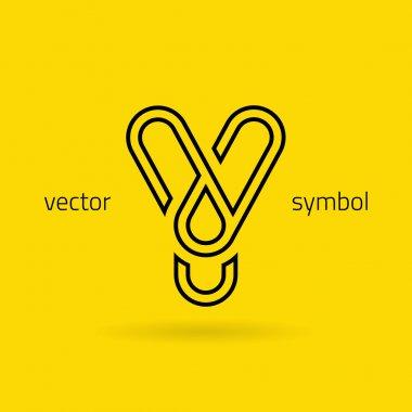 Graphic creative line alphabet symbol Letter Y