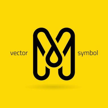 Graphic creative line alphabet symbol Letter M