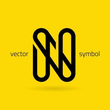 Graphic creative line alphabet symbol Letter N