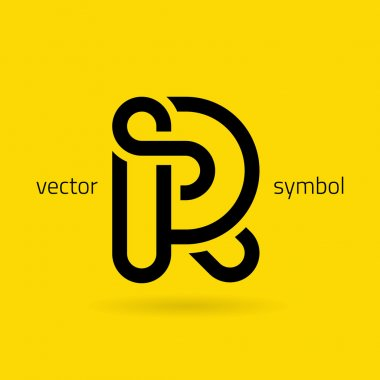Graphic creative line alphabet symbol Letter R