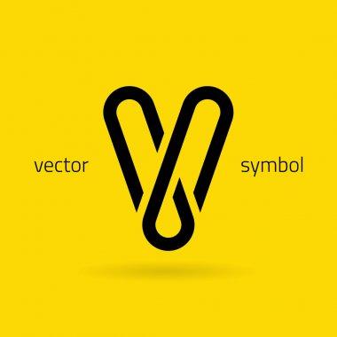 Graphic creative line alphabet symbol Letter V