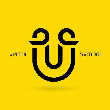 Graphic creative line alphabet symbol Letter U