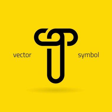 Graphic creative line alphabet symbol Letter T