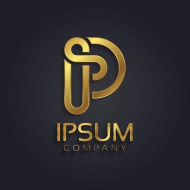 Gold alphabet  letter P  symbol