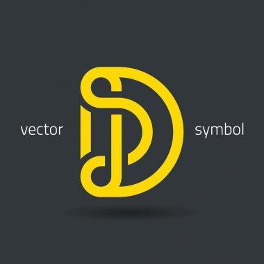Creative line alphabet symbol  Letter D